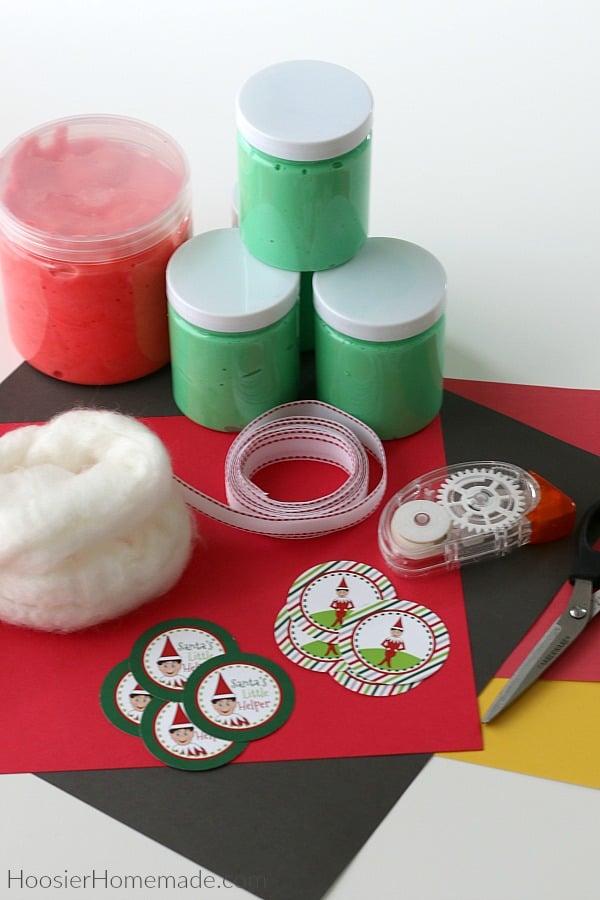 Supplies for Christmas Slime