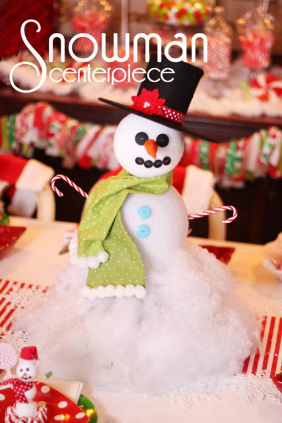 With just a few simple supplies, create this adorable Snowman for your Holiday Table! Pin this idea to your Christmas Crafts board!