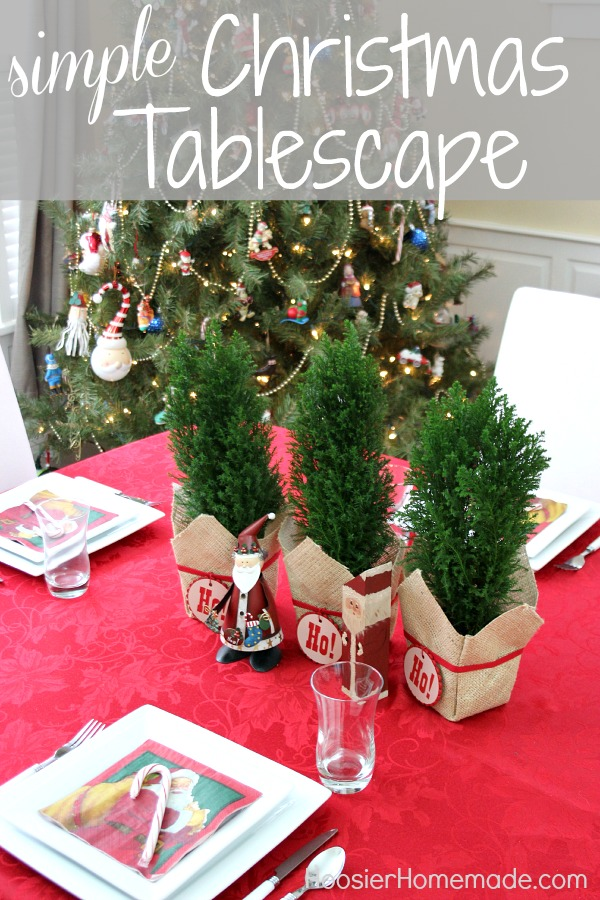 Simple Christmas Tablescape | on HoosierHomemade.com #PFDecorates