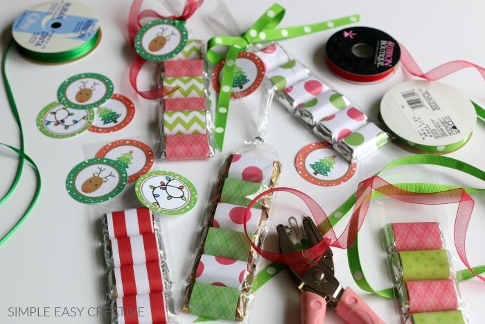 Supplies to make Christmas Treat Bags