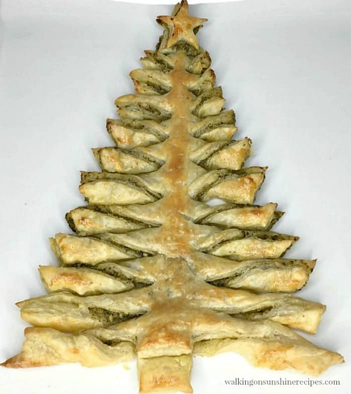 Puff Pastry Pesto Appetizer in tree form