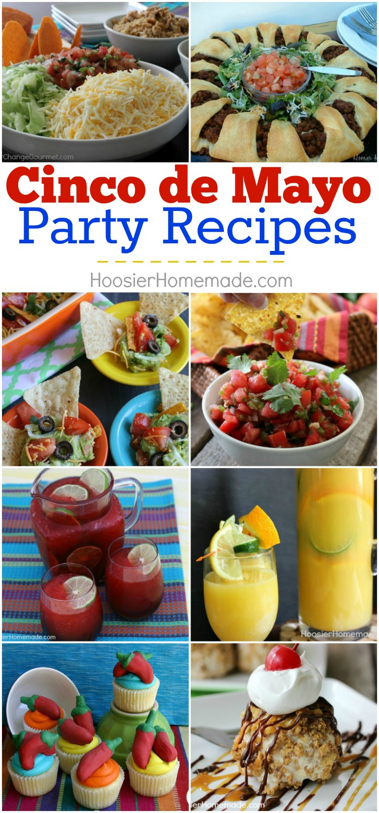 Are you ready to celebrate? These Cinco de Mayo Recipes are sure to please guests! Main Dishes, Sides, Snacks, Drinks and of course Dessert too! Be sure to save the recipes by pinning to your Party Board!