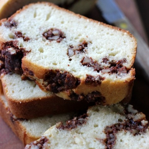 Cinnamon Pecan Quick Bread - moist vanilla bread with ribbons of cinnamon and pecans. Perfect for Breakfast, Snack time or even Dessert. Pin to your Recipe Board!
