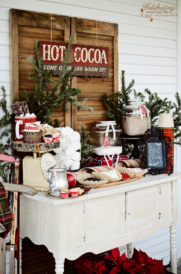 This gorgeous Hot Cocoa Bar brings a little warmth to the holidays! Fill it with treats and goodies to enjoy during a Holiday Party, after Skating Party, Snowman building and more!Visit our 100 Days of Homemade Holiday Inspiration for more recipes, decorating ideas, crafts, homemade gift ideas and much more!