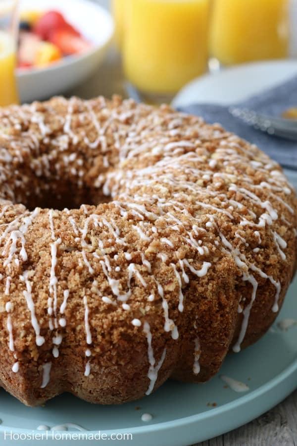 Coffee Cake Recipe on blue plate