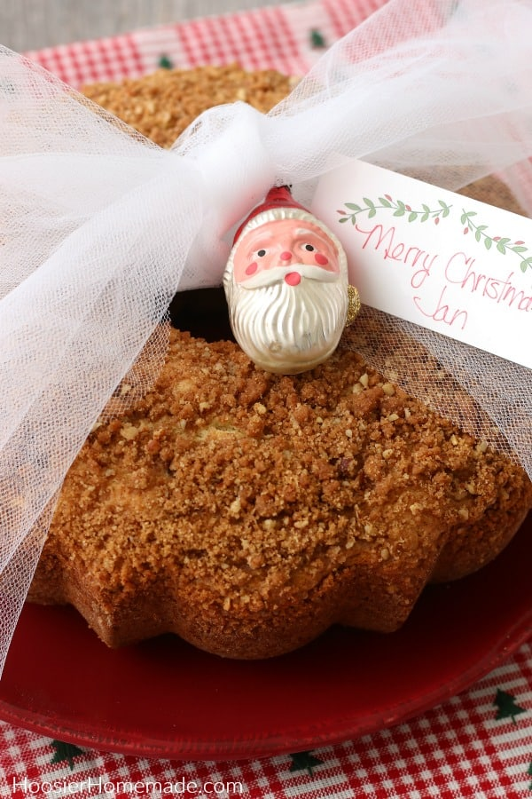Coffee Cake Gift from the Kitchen on red plate