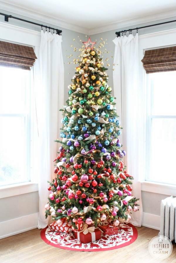 Make a statement with your Christmas Tree! This colorful, rainbow inspired Christmas Tree will impress your guests and put a smile on your face each time you walk by it! Visit our 100 Days of Homemade Holiday Inspiration for more recipes, decorating ideas, crafts, homemade gift ideas and much more!