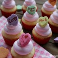Conversation Heart Cupcakes: Vanilla Cupcakes with Fluffy Marshmallow Frosting :: Recipe on HoosierHomemade.com