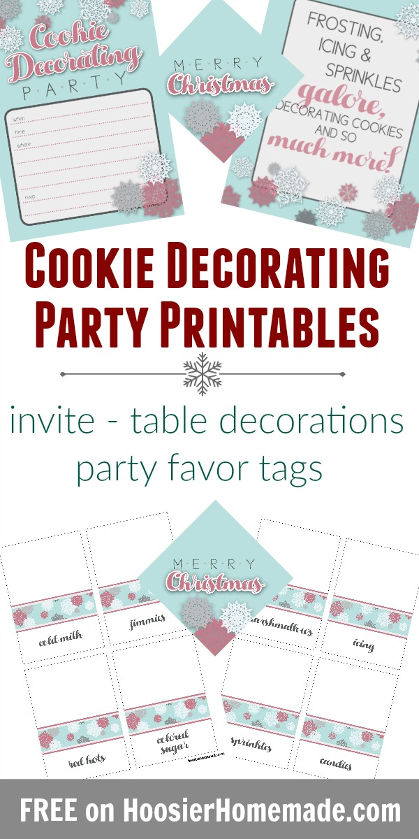 Cookie Decorating Party Printables - invitation, table decorations including tented cards for sprinkles, candy, icing and more, tags for party favors or gifts. FREE Printables!