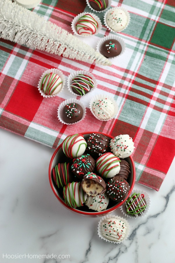 Cookie Dough Truffles decorated for Christmas