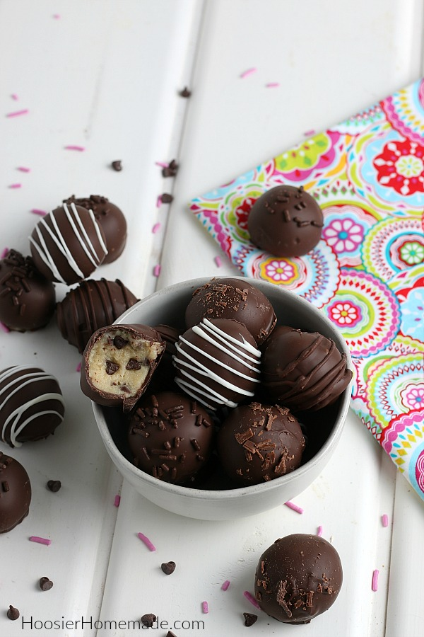 Cookie Dough Truffles in white bowl