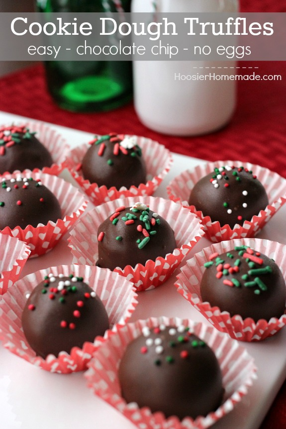Easy and delicious Cookie Dough Truffles Recipe made with chocolate chips and NO eggs! Pin to your Recipe Board!