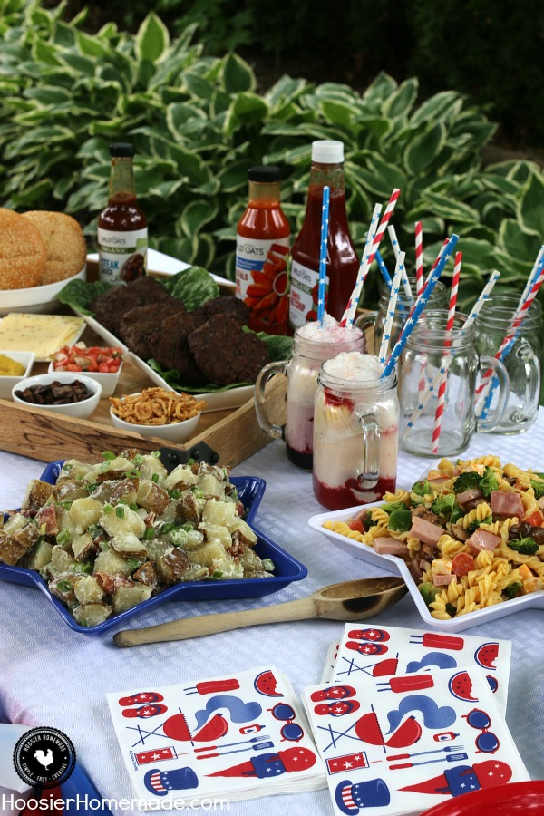 Hosting a Cookout doesn't need to be difficult or fancy! Serve a Mix and Match Burger Bar, Grilled Potato Salad, Pasta Salad and Berry Ice Cream Floats! Your guests will be raving about the great food! Be sure to save by pinning to your Party Board!