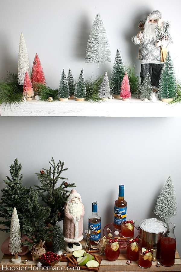 Table with drinks and holiday decoratations