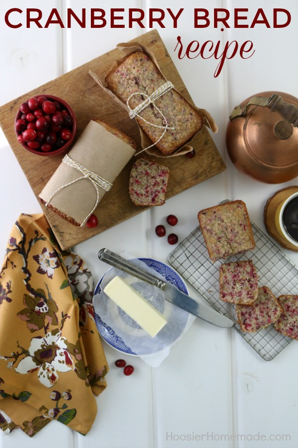 CRANBERRY BREAD RECIPE -- This easy to make Cranberry Bread has a hint of orange, is moist and full of flavor! It's perfect for gift giving too!