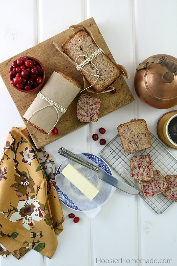 Cranberry Bread wrapped for gifts