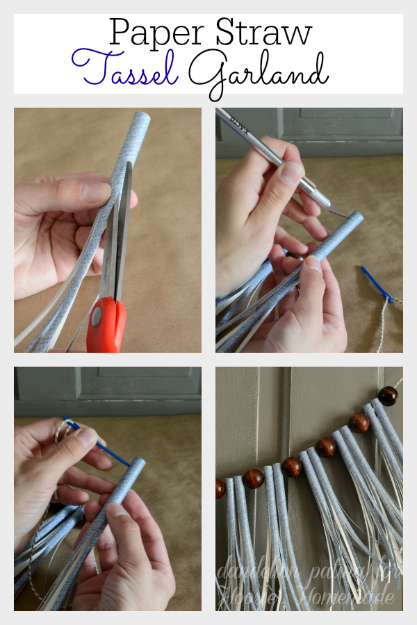Create a super easy DIY paper straw tassel garland in minutes with these step by step instructions from Dandelion Patina for Hoosier Homemade