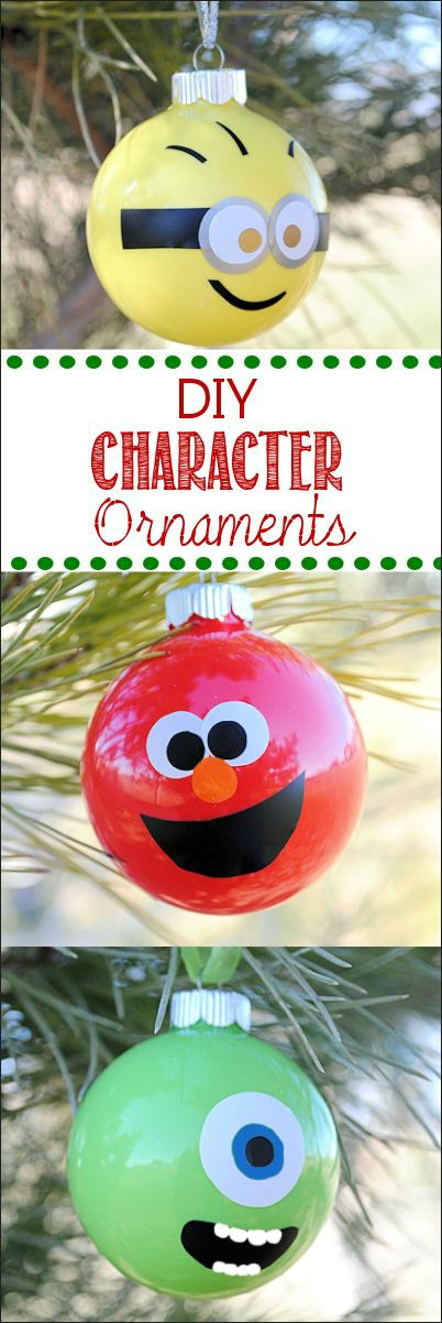 Your kids will have a blast helping you make these adorable character Christmas Ornaments! Pin to your Christmas Board!