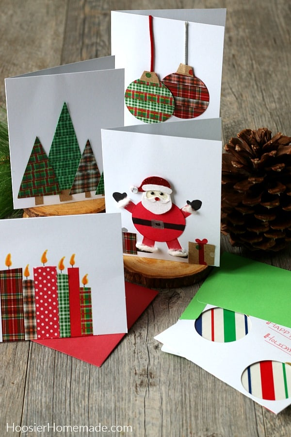 Christmas Card with ornaments, Santa, trees and candles