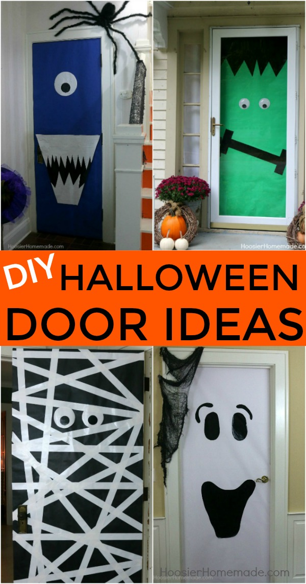 HALLOWEEN DOORS -- Create these fun and easy Halloween decorations with a few simple supplies & DIY Halloween Doors - Hoosier Homemade pezcame.com
