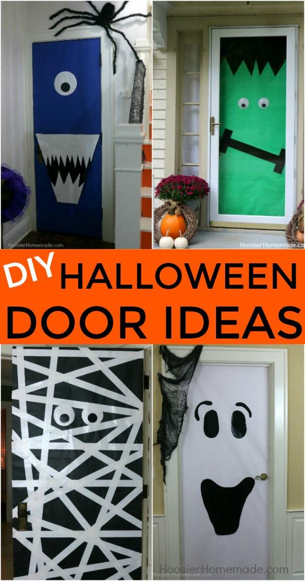 HALLOWEEN DOORS -- Create these fun and easy Halloween decorations with a few simple supplies & DIY Halloween Doors - Hoosier Homemade