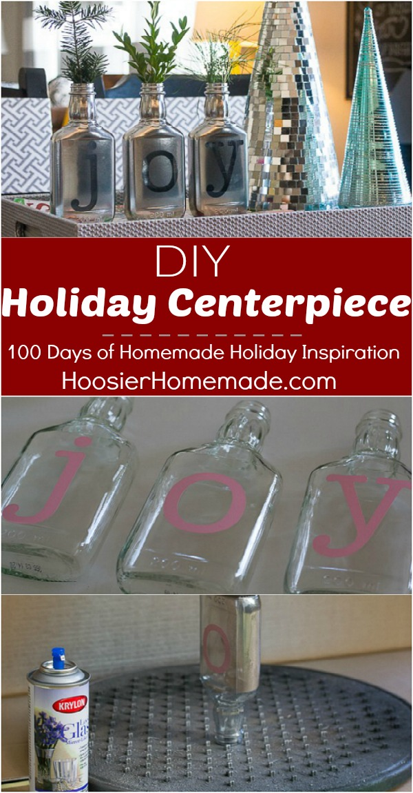 The options are endless for this easy to make DIY Holiday Centerpiece! Recyle some of those old bottles are create a beautiful holiday tablescape. Visit our 100 Days of Homemade Holiday Inspiration for more recipes, decorating ideas, crafts, homemade gift ideas and much more!