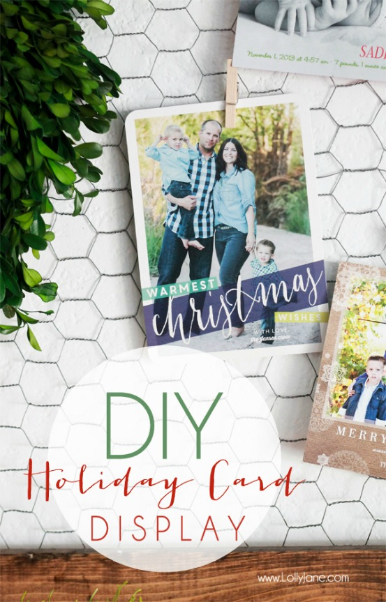 Use this cool Christmas Card Display during the holidays and clip photos to it during the year! Pin to your DIY Board!