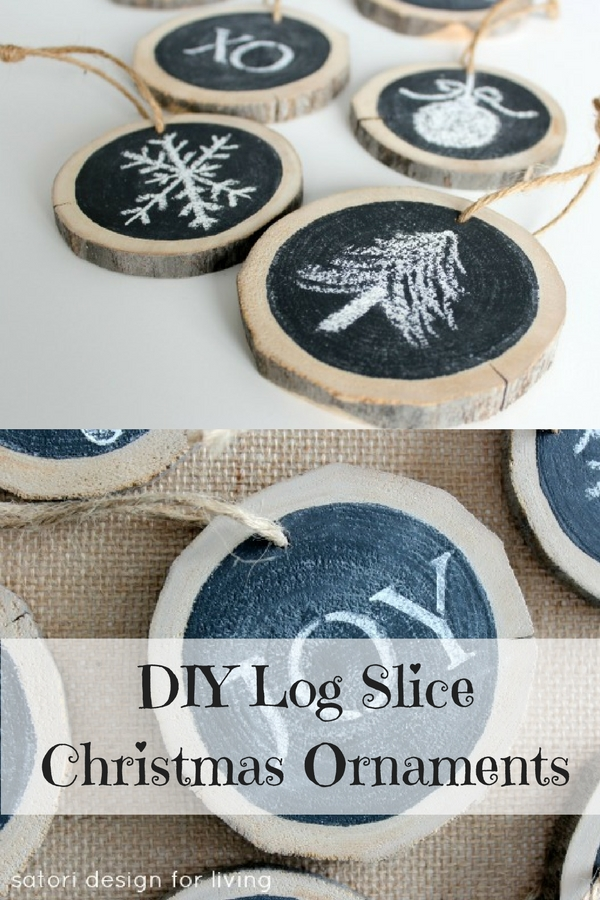 DIY Log Slice Christmas Ornaments - cute and customizable!