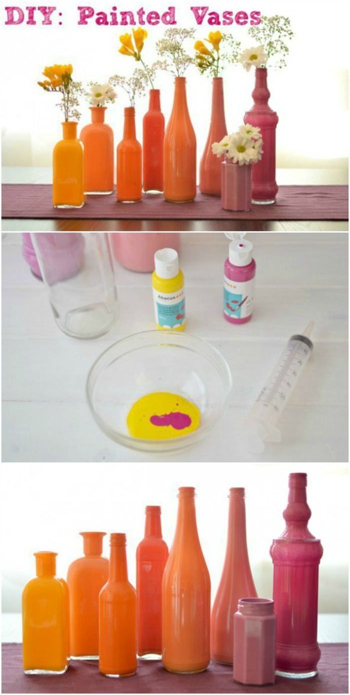 Perfect a Bridal or Baby Shower Table Centerpiece, Wedding or other occasion! Easy to make DIY Painted Vases! Pin to your DIY Board!