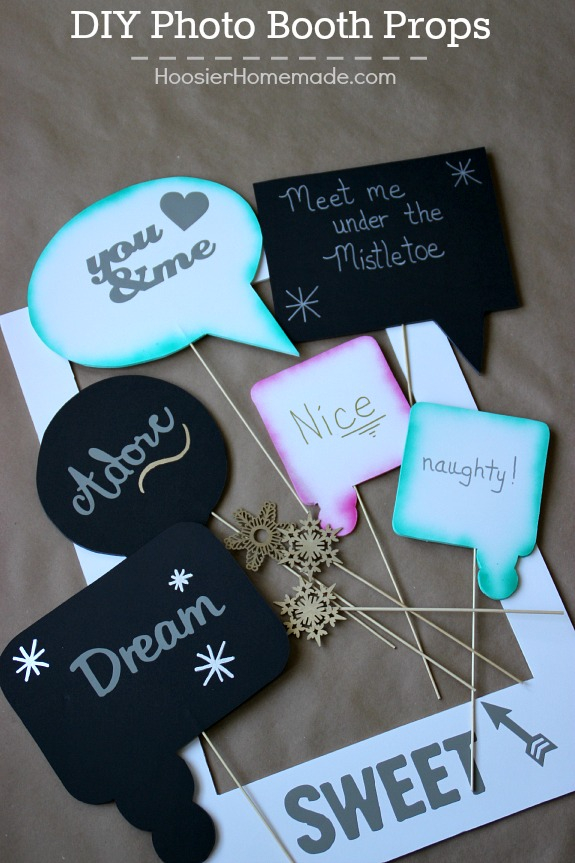 Create one-of-a-kind Photo Booth Props for the holidays, your next party or celebration! They are easy and LOTS of fun! Pin to your Party Board!