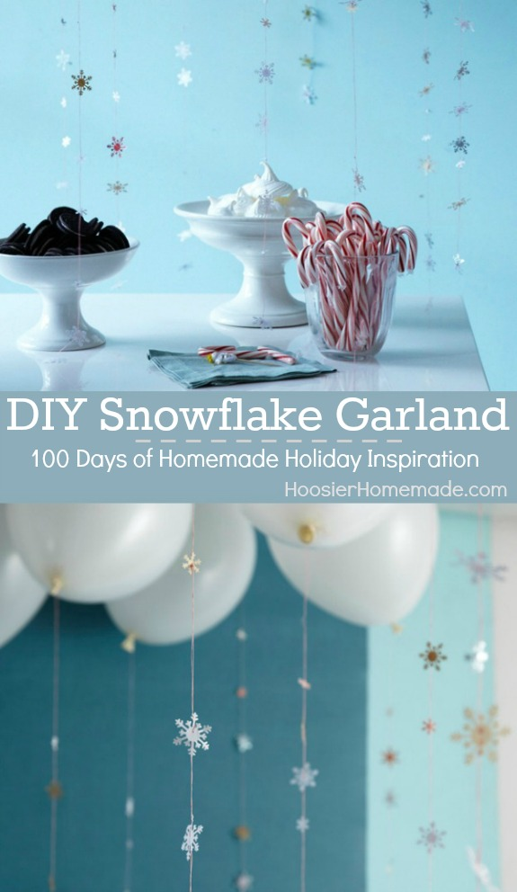 Perfect for holiday decorating or parties, this DIY Snowflake Garland is easy to make with just a few supplies! Pin to your Craft Board!