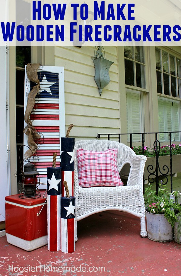 Learn how to make these FUN Wooden Firecrackers and decorate your front porch or home! Your 4th of July Decorating will never be the same!