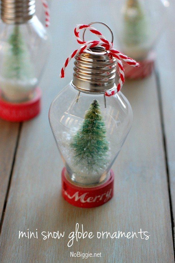 Make these adorable Mini Snow Globe Ornaments with simple supplies and little time! Visit our 100 Days of Homemade Holiday Inspiration for more recipes, decorating ideas, crafts, homemade gift ideas and much more!