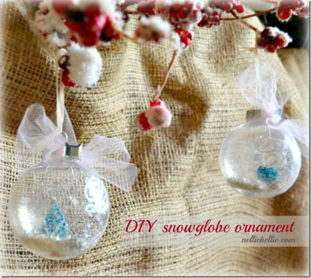 DIY Snow Globe Ornaments: 100 Days of Homemade Holiday Inspiration on HoosierHomemade.com