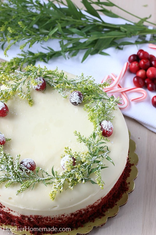 Decorating store bought cake with cranberries