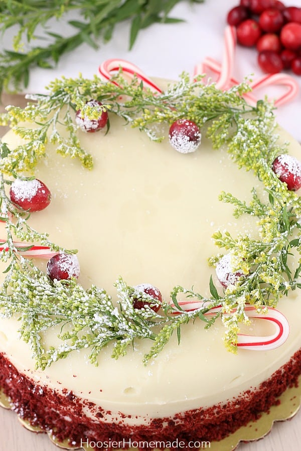 Decorating store bought cake with candy canes