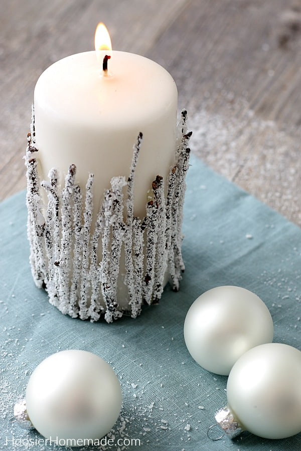 Decorated Candles with twigs