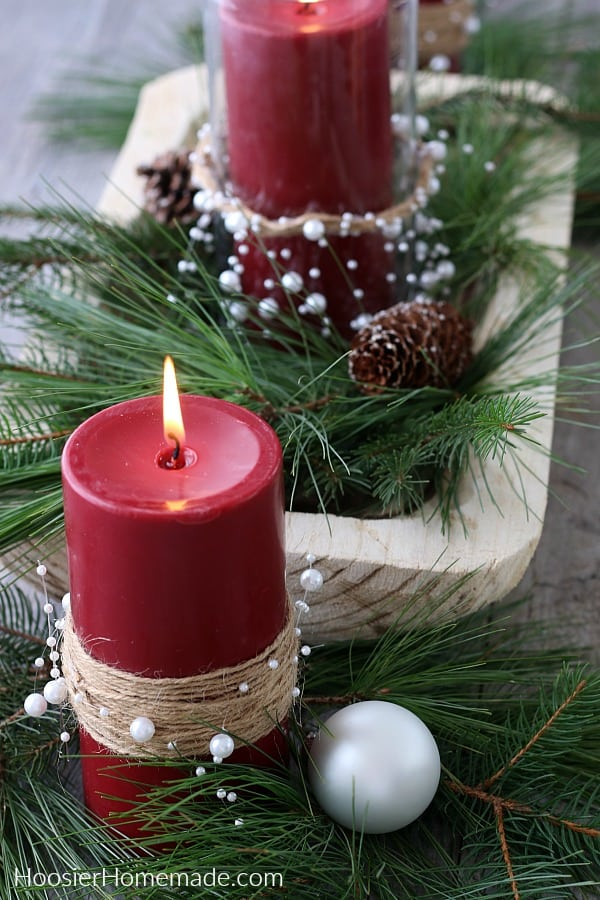 Christmas Centerpiece with Decorated Candles