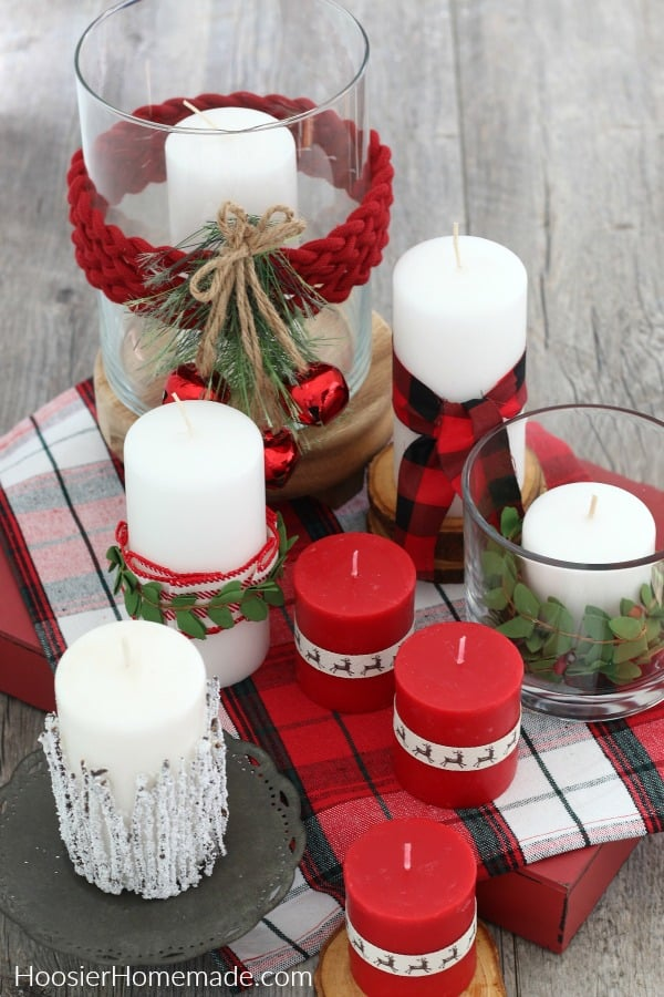 Decorated candles on table