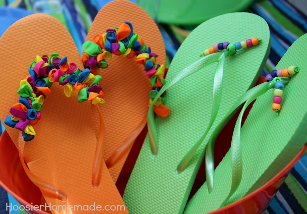 Decorated Flip Flops | Instructions on HoosierHomemade.com