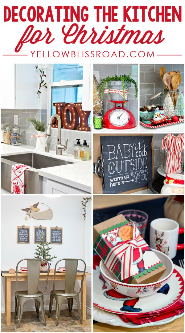 Add some sparkle to your kitchen with these fun Christmas decorating ideas! A spot for Hot Cocoa, Baking Cookies and more! Visit our 100 Days of Homemade Holiday Inspiration for more recipes, decorating ideas, crafts, homemade gift ideas and much more!