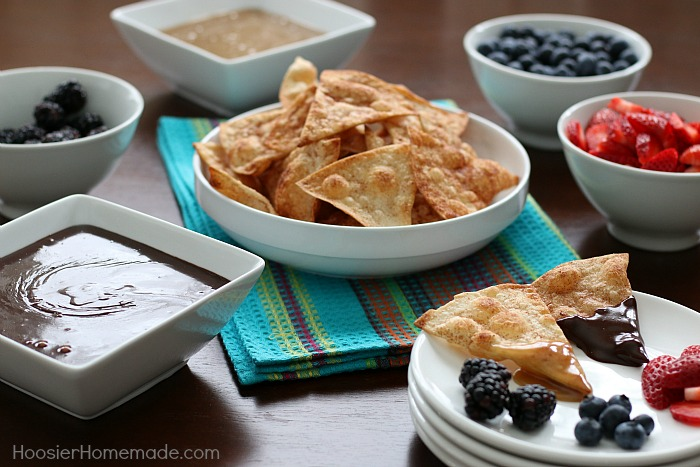 Dessert Fondue with Cinnamon Sugar Tortilla Chips