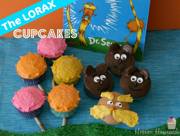 Dr. Seuss Lorax Cupcakes | on HoosierHomemade.com