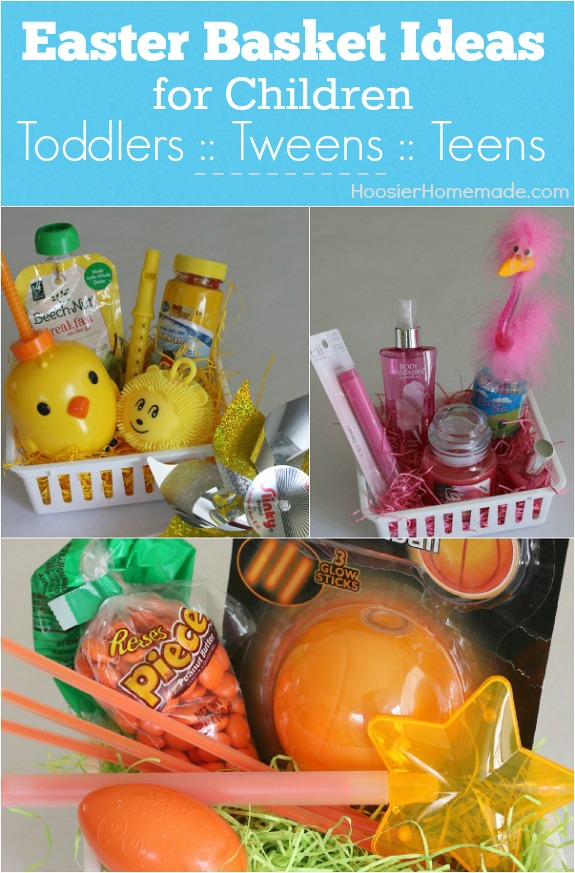 Easter basket ideas for children hoosier homemade these simple themed easter baskets for toddlers tweens and teens go together in minutes negle