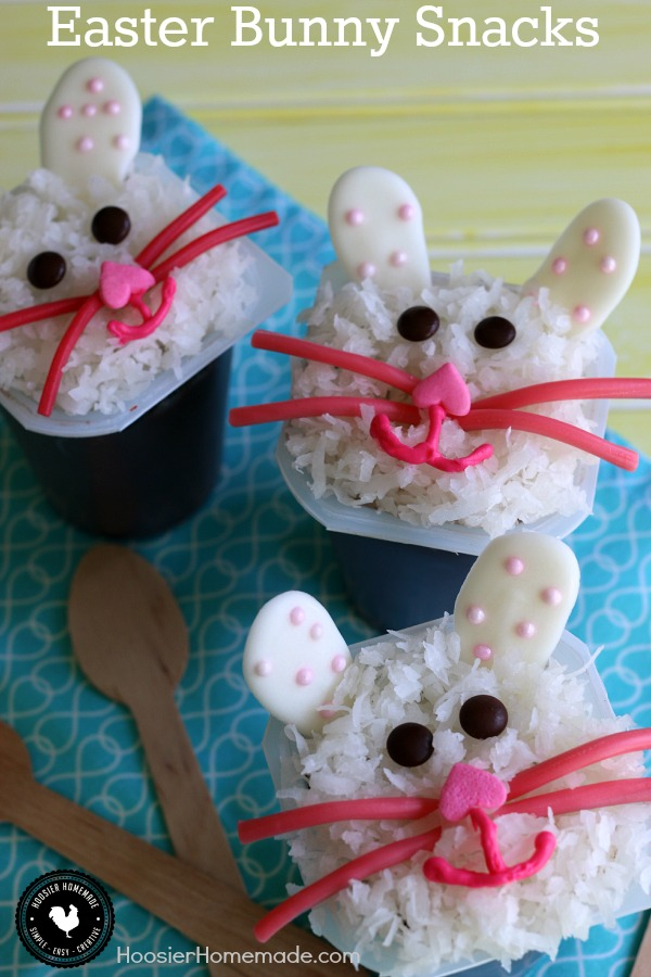Easter Bunny Snacks - let the kids have fun and create these adorable Easter Bunny Treats. Simple, easy to find ingredients! Pin to your Easter Board!
