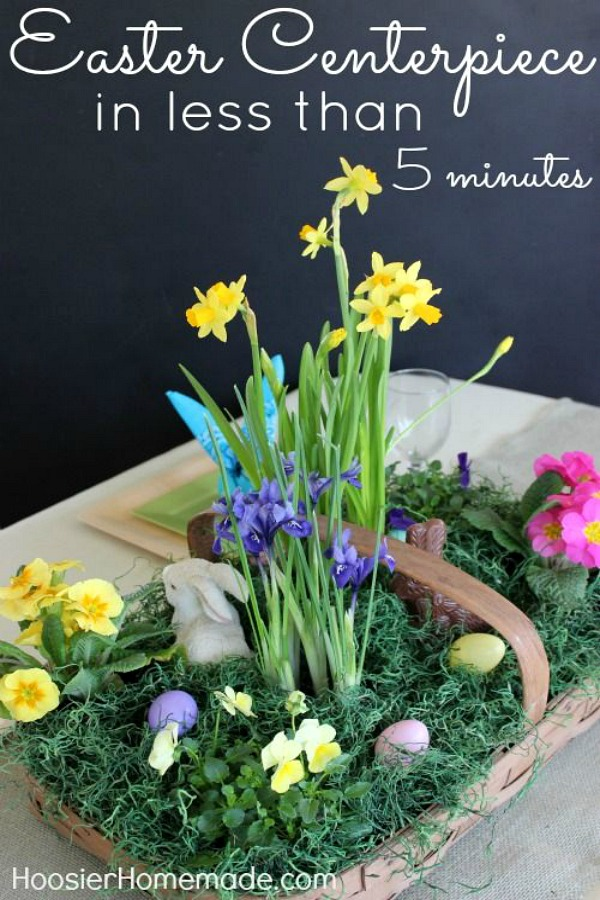 Create this Easter Centerpiece in about 5 minutes! Full of fresh plants, bunnies, eggs and even a chocolate bunny! Pin to your Easter Board!