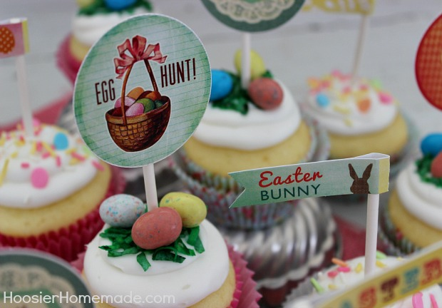 Free Printable Easter Cupcake Toppers :: Available on HoosierHomemade.com