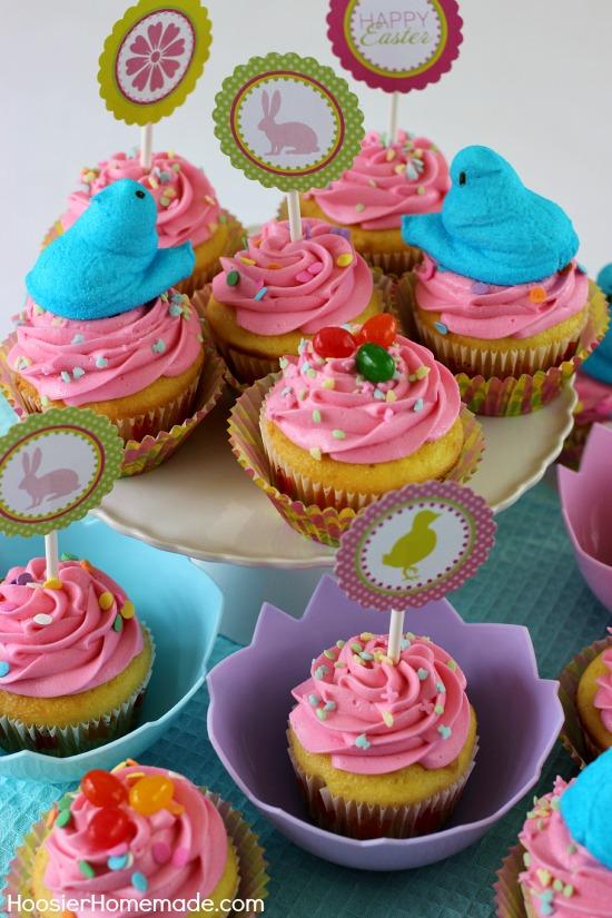 Easter Cupcakes   Jelly Bean Surprise   Recipe on HoosierHomemade.com