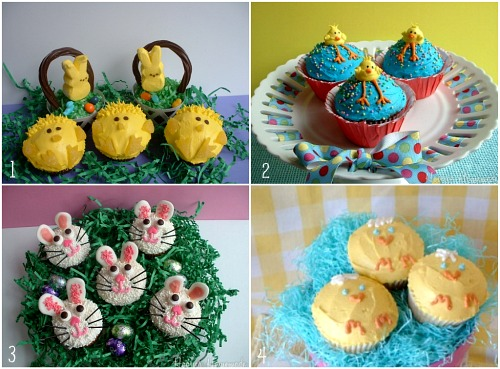 Easter round updinner dessert decorations and more hoosier cupcakes peeps cupcakes and easy easter baskets negle Images
