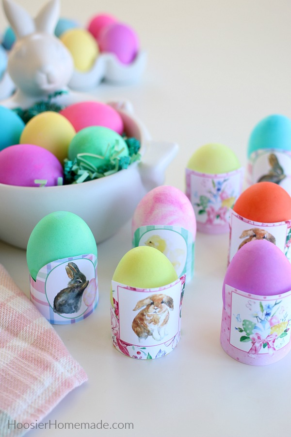 Easter Egg Printables with colored eggs